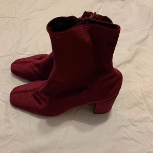 Jeffrey Campbell red velvet ankle boots. Size 9